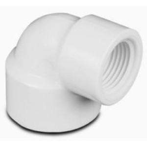 Codo 90° con reduccion de PVC Roscado