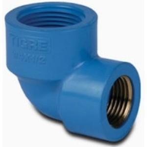 Codo 90° de PVC con buje de Bronce para Cañerias Roscadas